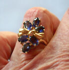 10 KT Yellow Gold Natural Purple Blue Iolite Ring Size 75 Floral Ribbon Design