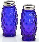 Salt  Pepper Shaker Set Elizabeth Pattern Mosser USA Cobalt Blue Glass