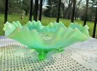 Jefferson Northwood Glass Green Opalescent Celtic Knot Footed Bowl Crimped Rim