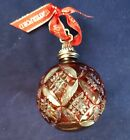 SIGNED WATERFORD CRYSTAL BALL CHRISTMAS ORNAMENT RUBY RED CUT TO CLEAR UNUSUAL