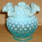 VINTAGE BLUE OPALESCENT HOBNAIL FOOTED VASE RUFFLED EDGES FENTON FREE SHIPPING