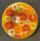 Michael  Frances HIGGINS Fused Studio Art Glass Bowl Flowers Beautiful MCM