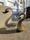 Murano Sommerso Art Glass Duck Bird Swan Set Of 2 With Labels