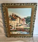 Vintage Mid Century 1950s 1960s PAINT BY NUMBERS Italy Coastal City boat SEA 2