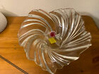 Spiral Wave Squarish Clear Glass Bowl With Fake Glass Candy Circle Base
