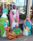 RARE LIFE SIZE 3 nativity kings Wisemen Blow Mold with CAMEL 50 tall