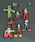Lot of 6 Vintage Paper Mache Clowns Hand Painted Made in Mexico C 1970