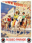 Rodeo Parade Montana Wyoming Dude Ranch Country Native American 1940s Poster