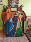 2 Large Wise Men heavy Cardboard vintage kings nativity scene partial 46 tall