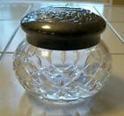 Waterford Crystal Glass Giftware Powder Vanity Jar with Silverplate Lid Signed