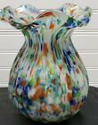 Vintage Art Glass Vase Rainbow Spatter Hand Blown