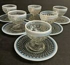 12 pc Set Fenton Footed White Opalescent Hobnail Moonstone Sherbet Cups  Plates