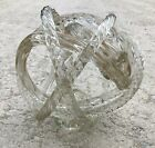 Murano Art Glass Twisted Clear Gold Speckled Ribbed Rope Knot Sculpture 6