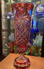 Large Cranberry Red cut to clear crystal glass bohemian AJKA star Vase 21