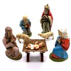 1950s Hand Painted Plastic Nativity Bavarian Forest West Germany 8 Pc Christmas