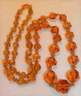 Vintage Art Deco 30s Era Faceted Topaz Glass Bead 34 Necklace Hand Knot