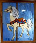 Stained Glass Carousel Horse Window Panel Wood Framed Measures 37 1 2 X 27