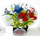 Peggy Karr Fused Art Glass Signed Dated Forsythia Bouquet Oval Platter 18L