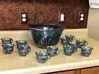 Vintage Indiana Blue Glass Iridescent Carnival Glass Grape Punch Bowl Set no Lad