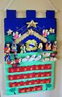 NATIVITY ADVENT CALENDAR PLUSH FABRIC W 25 POCKETS Vel cro HANG DOWEL SOFTOYS
