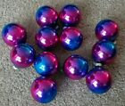 12 Vintage SHINY BRITE Blue Pink Ombre Glass Ball Christmas Ornaments