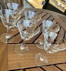 6 ANTIQUE CRYSTAL ETCHED RIBBED STEMWARE WINE CORDIAL DIGESTIVE SHERRY GLASSES