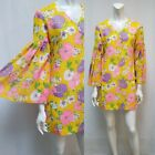 Vintage 60s Yellow Flower Power Mini Dress with Bell Sleeves Size S EUC