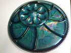 Carnival Glass Blue Iridescent Party Platter Deviled eggs and Hors doeuvres