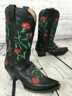 Handcrafted STETSON Rose Inlay Black Leather Western Boots Womens Size 75 M
