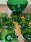 Vintage 12 Piece AH Forest Green Glass Punch Bowl Set 11 Cups + Bowl Excell