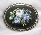 Antique Victorian Micromosaic Floral Inlay Brooch Pin Vintage Micro Mosaic 233g