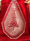 WATERFORD CRYSTAL Christmas Tree Ornament 1980 Felt Pouch  Box