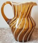 Fenton Autumn Gold Opalescent Glass Spiral Pattern Pitcher Original Vintage USA
