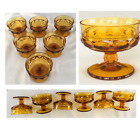 Vintage Indiana Glass KINGS CROWN Thumbprint Amber Dessert Bowls 6 PC Set