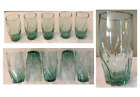 VINTAGE Anchor Hocking Drinking Glass Tumblers GREEN TWIST Central Park 5 PC Set