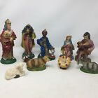 VTG Paper Mache Nativity Figures Depose Fontanini Style 9 Pcs Italy 9  Tall