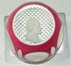 Baccarat Sulfide Pink Double Overlay Thomas Jefferson Art Glass Paperweight