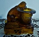 STUNNING DARK AMBER COLORED GLASS TOOTHPICK HOLDER PUG  TOP HAT 3 3 4 TALL