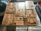 Lot Of 83 Assorted Mostly Stampin Up  1 Wizard Of Ahs Stamps Wood Rubber Back