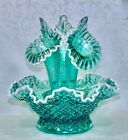 Fenton Epergne Robins Egg Blue Glass Connoisseur Collection 2011 Limited