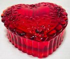Heart Trinket Box Red Glass w Roses Mosser USA