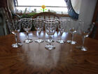 Cut Wine Etched Floral Blown 7 Set of 8