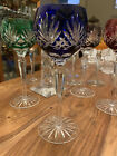 Vintage Cobalt Blue Bohemian Wine Glass Etched Wheat Crisscross W Nicked Base