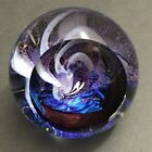 Hand Blown Glass Eye Studio GES Celestial Whirlpool Spiral Galaxy Paperweight