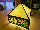 Antique Slag Glass Pyramid Lamp Shade Rainbow Blue Green Amber Pink Cream Tones