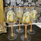4 Easter Spring Easter Bunny Rabbit Stemware Wine Glasses Orange w Carrots NEW