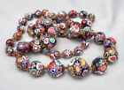 Vintage MILLEFIORI Glass Graduated Bead NECKLACE 30 Venetian Murano Italian