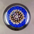 Arculus Large Glass Paperweight Concentric Millefiori + Date Canes Rough Pontil