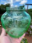 Hawkes Uranium GLOWING Green Etched Glass Vase FREE SHIPPING steuben signed