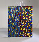 Pair of Rare MCM Geometric Stained Glass Style Wall Art Panels